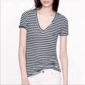 J.Crew SZ Small Blue & Cream V-neck Linen T-Shirt